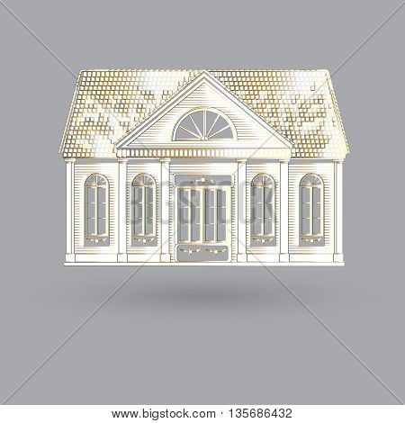 Vector  illustration with isolated facade white old house on grey background.