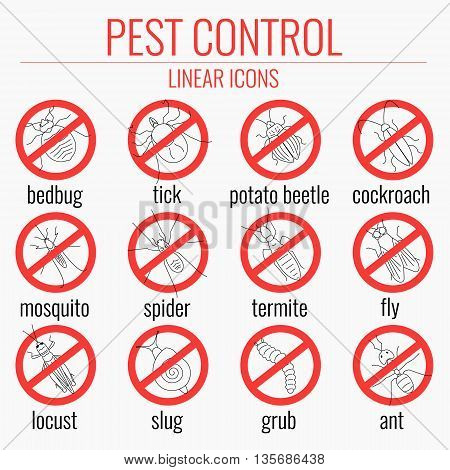 Pest control line icon set with insects. No insects sign. Insects warning symbols. Prohibition icons with pests. Perfect for exterminator service and pest control companies. Vector illustration.