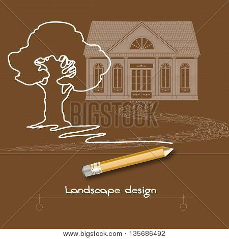 Vector illustration with white contour tree, house, stone pathway, pencil and words Landscape design on brown background.