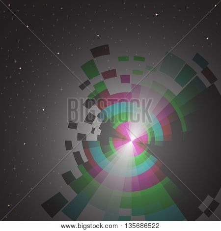 abstract space background with spectrum and stars