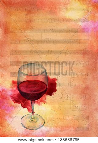 A watercolor drawing of a glass of red wine with a grunge stain on a piece of sheet music aged with textures; an artistic wine list or invitation design template with copyspace