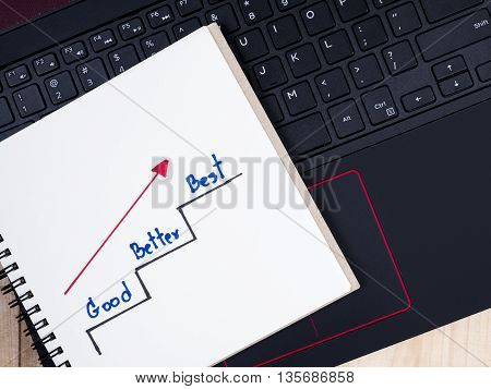 Handwriting Good Better Best and ladder on notebook with laptop keyboard