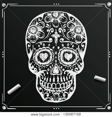 Chalkboard Day Of The Dead Skull sketch. Draw skull sugar flower. Skull tattoo. Vector illustration