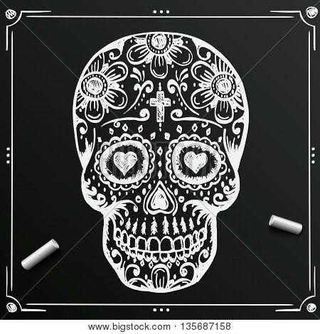 Chalkboard Day Of The Dead Skull sketch. Draw skull sugar flower. Skull tattoo. Vector illustration