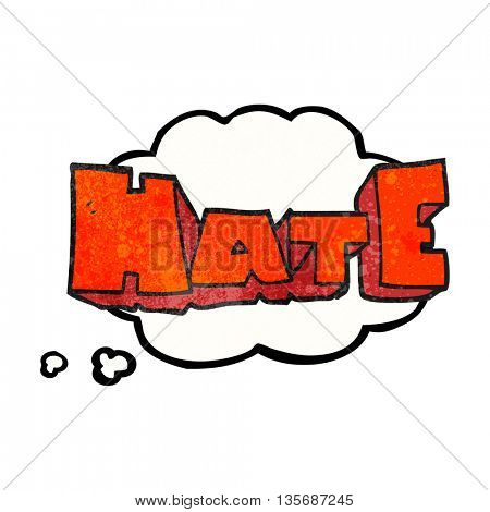 freehand drawn thought bubble textured cartoon word Hate