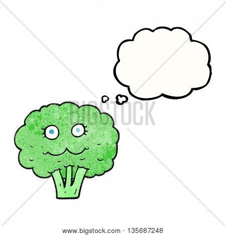 freehand drawn thought bubble textured cartoon broccoli