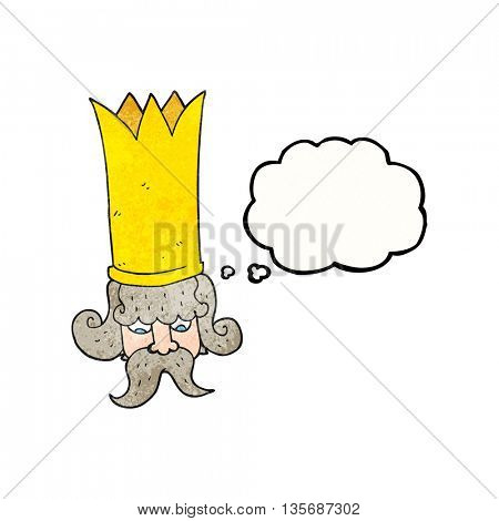 freehand drawn thought bubble textured cartoon king with huge crown