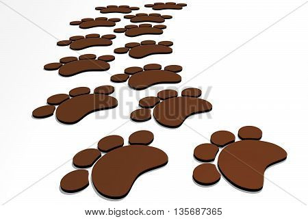 Path of brown flat dog foots. Isolated 3D illustration.