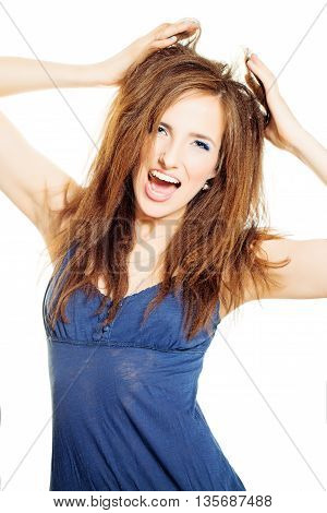 Funny Young Woman. Open Mouth and Uncombed Hair