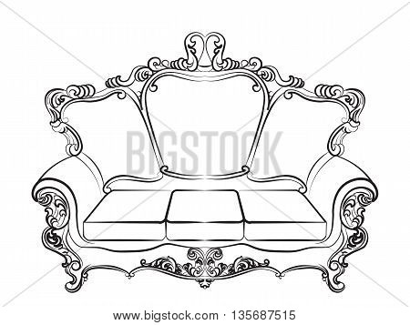 Baroque Imperial luxury style furniture. Elegant couch set with luxurious rich ornaments. Vector sketch