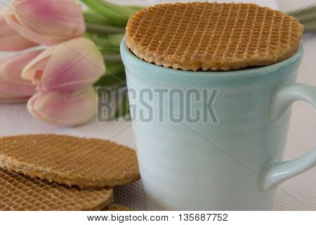 Caramel Stroopwafels (soft toasted dutch waffles) and Coffee