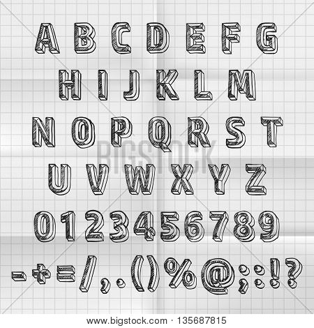Sketch font set on paper abc sign