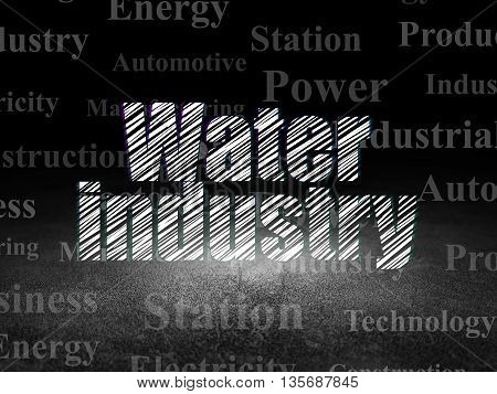 Industry concept: Glowing text Water Industry in grunge dark room with Dirty Floor, black background with  Tag Cloud