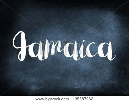 Jamaica written on a blackboard