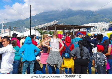 QUITO, ECUADOR - JULY 7, 2015: Pope Francisco crossing in mobilepope all the event in Ecuador, mass in Quito. People trying to see him.