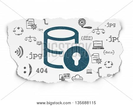 Database concept: Painted blue Database With Lock icon on Torn Paper background with  Hand Drawn Programming Icons