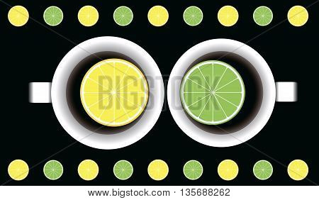 cup of tea with lemon and lime