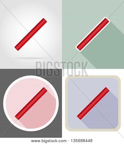 ruler stationery equipment set flat icons vector illustration isolated on white background