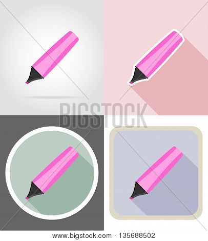 marker stationery equipment set flat icons vector illustration isolated on white background