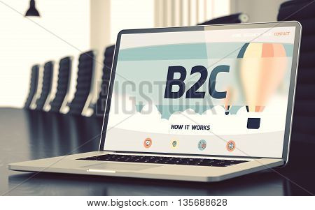 B2C - Landing Page with Inscription on Mobile Computer Screen on Background of Comfortable Meeting Room in Modern Office. Closeup View. Blurred. Toned Image. 3D Illustration.