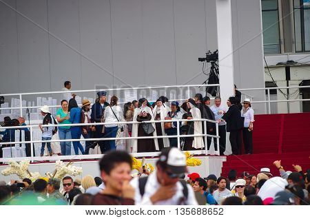 QUITO, ECUADOR - JULY 7, 2015: In Pope Francisco mass event, nuns waitting to see him in a preferencial place.