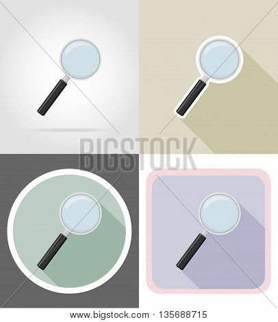 magnifier stationery equipment set flat icons vector illustration isolated on white background