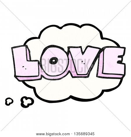 freehand drawn thought bubble textured cartoon word love