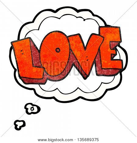 freehand drawn thought bubble textured cartoon love symbol