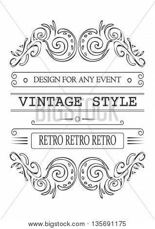 Retro typographic design elements. Template for design invitations, posters and other design