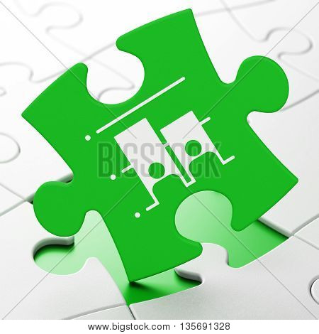 Political concept: Election on Green puzzle pieces background, 3D rendering