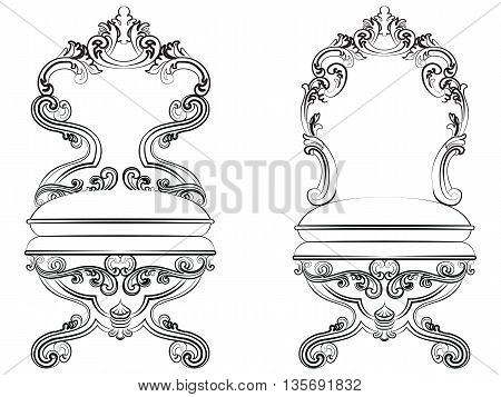 Baroque Imperial style furniture. Chair set throne with luxurious ornaments. Vector sketch