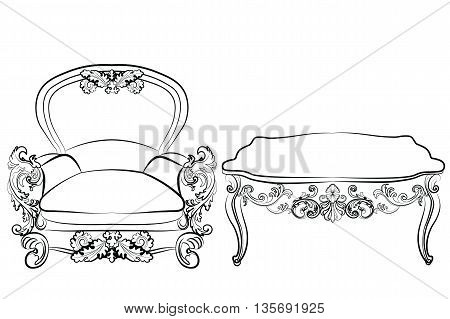 Royal Armchair and table set in Rococo Baroque style with damask luxurious ornaments. Vector