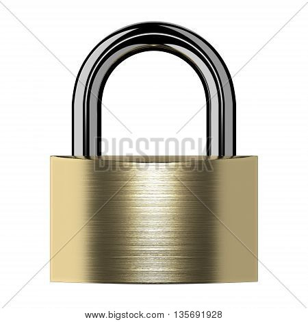Closed lock isolated on white background. 3D illustration.