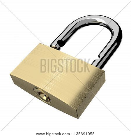 Open lock isolated on white background. 3D illustration.