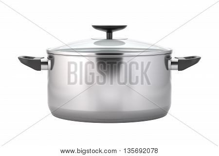 Cooking pot. Stainless steel pot with black handles. Soup pot with a lid. Kitchen stainless dishware. Isolated on white background. 3D illustration