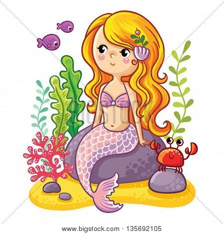 Sea collection Mermaid. Cute cartoon mermaid sitting on a rock. Mermaid fish and crab in vector illustration.