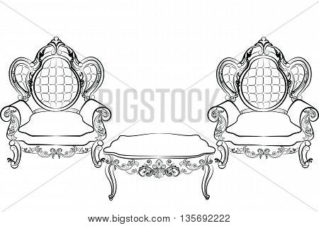 Royal Armchair and table set in Baroque Rococo style with damask luxurious ornaments. Vector
