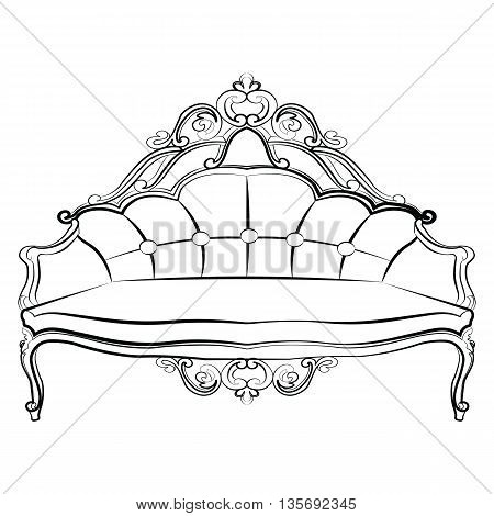 Royal Sofa in Baroque Rococo style with damask luxurious ornaments. Vector