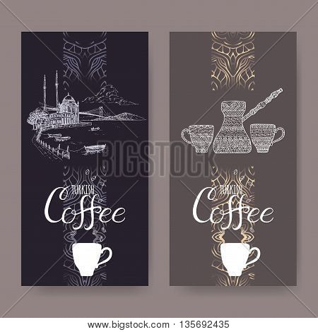Set of two Turkish coffee labels with Istanbul landscape and ethnic coffee pot and cups. Great for cafe, restaurant, travel and cafe ads, brochures, labels.