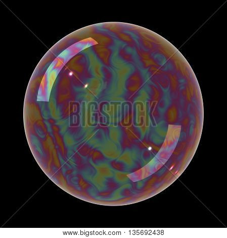 Soap bubble on black background. Realistic bubble with rainbow reflection. 3d illustration.