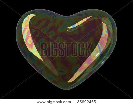 Heart shaped soap bubble on black background. Realistic bubble with rainbow reflection. 3d illustration.