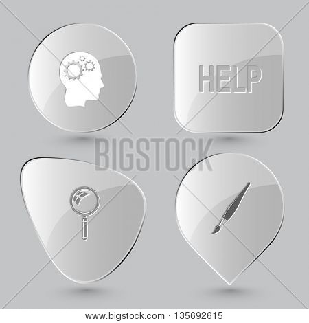 Education set. Glass buttons on gray background. Vector icons.