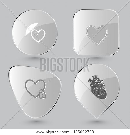 Medical set. Glass buttons on gray background. Vector icons.