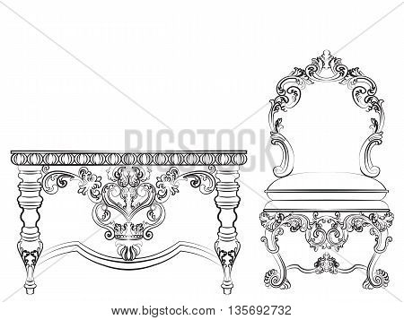 Baroque Imperial style furniture. Wood table and chair set with luxurious ornaments. Vector sketch