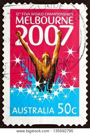 AUSTRALIA - CIRCA 2007: a stamp printed in the Australia dedicated to 12th FINA World Swimming Championships Melbourne circa 2007