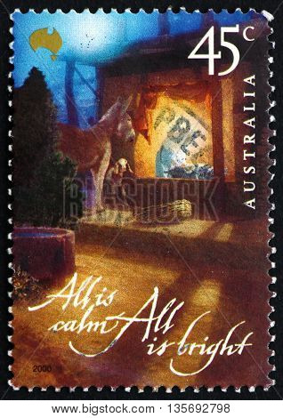 AUSTRALIA - CIRCA 2000: a stamp printed in the Australia shows Manger Christmas circa 2000