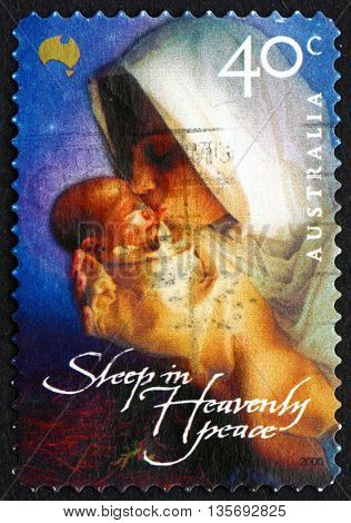 AUSTRALIA - CIRCA 2000: a stamp printed in the Australia shows Madonna and Child Christmas circa 2000