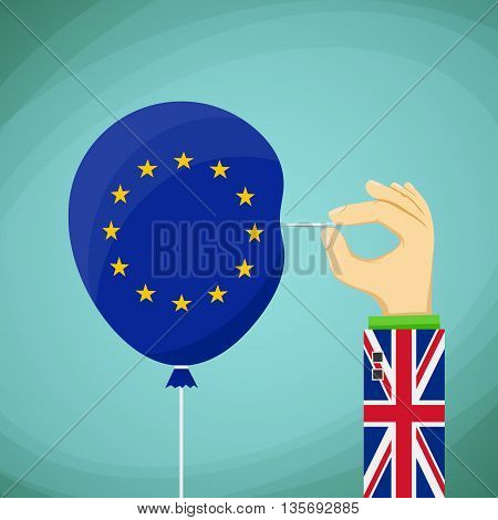 Briton with a needle in his hand and a balloon with the flag of the European Union. Stock Vector cartoon illustration.