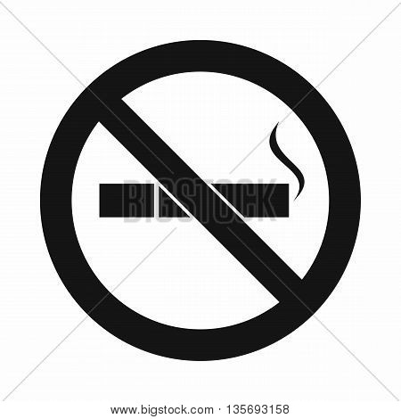 No smoking sign icon in simple style isolated on white background