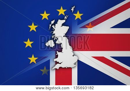 Brexit British referendum concept with UK map and shape on EU and Union Jack flag 3D illustration.